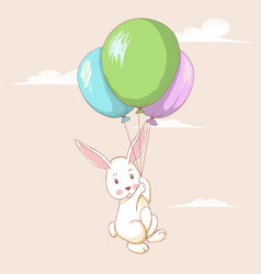 cute hare flying with balloons vector image