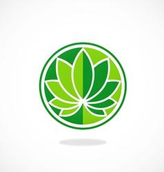 leaf round lotus spa logo vector image vector image