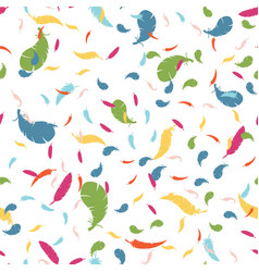 Multicolored feathers on a white background vector