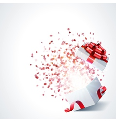 Open gift with fireworks vector image