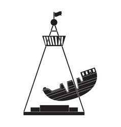 Pirate ship ride silhouette vector