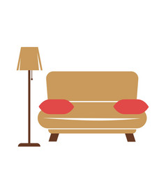 sofa with pillows and lamp vector image vector image