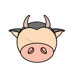 Drawing cow face animal vector