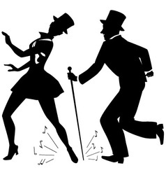 Tap dancers in top hats silhouette vector image
