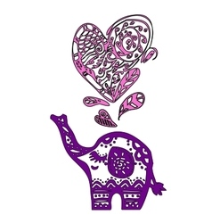 Valentine elephant with heart vector image vector image