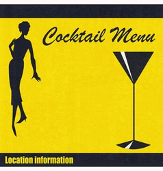 Vintage Cocktail Menu Background vector image vector image