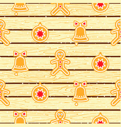 gingerbread cookies on wood planks seamless vector image vector image