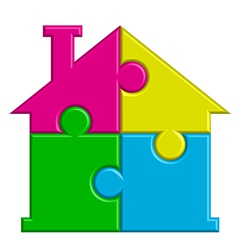 puzzle house vector image vector image