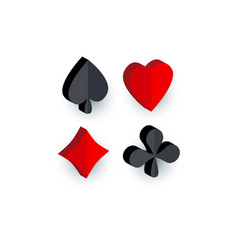 Set of 3d playing card suit signs vector
