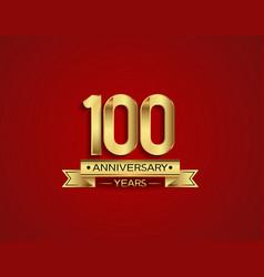 100 years anniversary golden design color vector