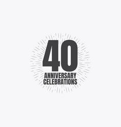 40 years anniversary celebrations template design vector