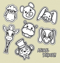 animal stickers4 vector image