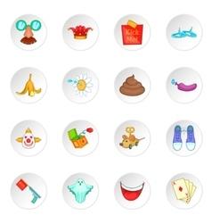 April fools day icons set vector