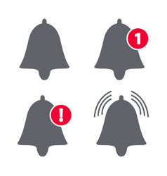 Bell icon set ring and notification number sign vector