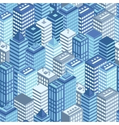 Blue flat isometric city seamless pattern vector image