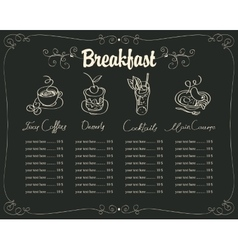 board with a breakfast menu vector image