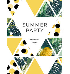 Bright summer hawaiian design with tropical plants vector