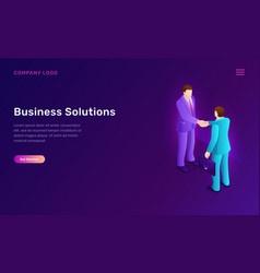 Business solution and agreement isometric concept vector