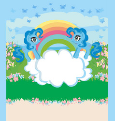 card with a cute unicorns rainbow and flowery vector image