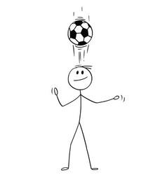 cartoon of football or soccer player using header vector image