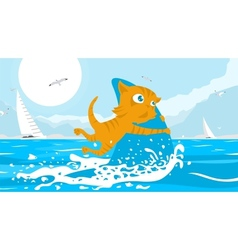Cat Fisherman vector