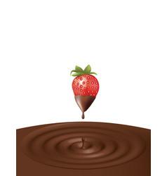 chocolate splash with strawberry vector image