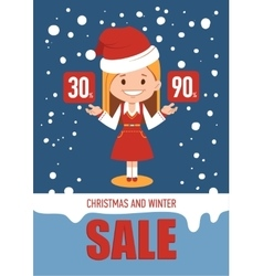 Christmas and winter sale holiday banner vector