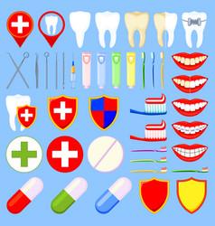 colorful cartoon dental 42 elements set vector image