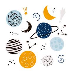 cosmic design elements childish creative vector image