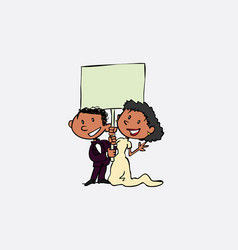 Couple of black newlyweds hold a blank billboard vector