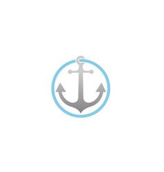 creative anchor circle logo vector image