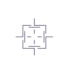 crosshair square line shape vector image