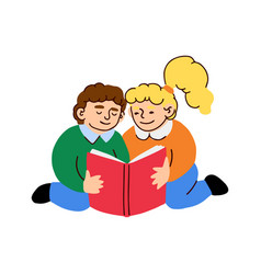 cute little boy and girl reads a book vector image