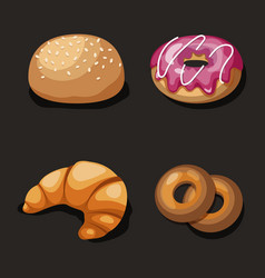 cute set of cartoon fast food isons vector image