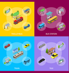 different types city public transport 3d banner vector image