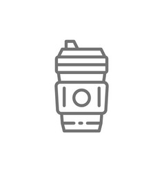 disposable cup with hot drink coffee takeaway vector image