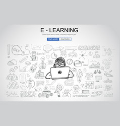 E learning concept with business doodle design vector