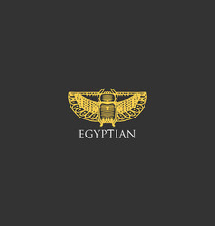egyptian logo with scarab beetle symbol ancient vector image
