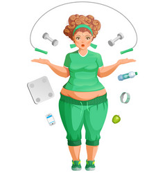 Fat woman is going to lose weight fitness life vector
