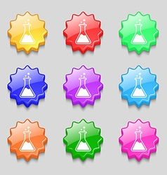 Flask icon sign symbol on nine wavy colourful vector