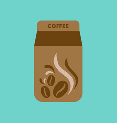 Flat icon on background coffee paper package vector