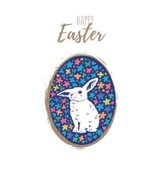 Floral easter egg with bunny vector image