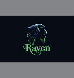 flying raven in minimalist style vector image
