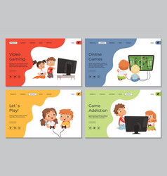Gaming landing page kids with video games vector