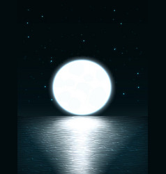giant bright full moon over the sea at sunset or vector image