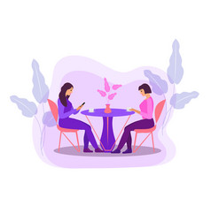 girls are sitting at a table in a cafe drinking vector image