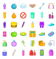 Good cosmetic icons set cartoon style vector