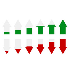 green red arrow level indicators arrows as vector image