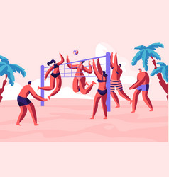 group young people playing beach volleyball vector image