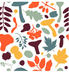 hand drawn fall seamless pattern autumn botanical vector image